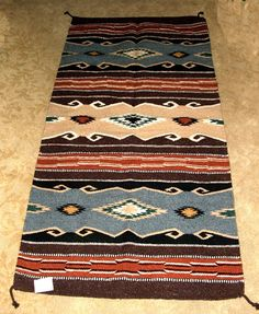 Mexican Blanket Throw Navy Blue Southwestern 5 X7 Durable