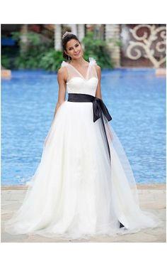 Ball Gown V-neck Floor-length Organza Satin Wedding Dress