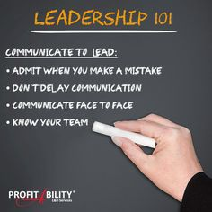 #Leadership101: #CommunicateToLead: * Practice what you preach * Admit when you are wrong * Find your own voice/ style * Don't delay #communication * Communicate face to face * Address each person individually * Listen actively * Know Your Team #Leadership #LeadershipTips