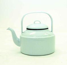 White Enamelware Tea Kettle  with black trim