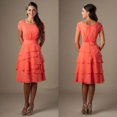 737276788b Modest Bridesmaid Dresses Coral Colored A Line Knee Length Chiffon Brides  Maid Dress Modest Bridesmaid Dresses