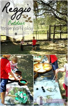 Reggio loose parts play outdoors: a simple invitation to play with mirrors, sand and open-ended materials | Racheous