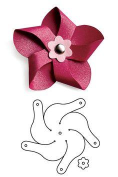 Molde de flor no estilo catavento de feltro, papel ou e.v.a:
