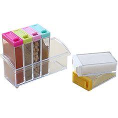 Colorido Simple Tapa Transparente Tarro de la Especia/Caja Condimento Vinagrera Cocina Caja de Almacenamiento de Herramientas