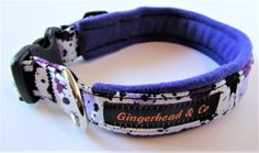 Handmade dog collar, abstract pattern, lined with purple fleece. Made with strong 1 (2.5 cm) webbing, cotton fabric and soft purple feece. Elegant and comfortable. All stress points are enforced, hardware is rust-resistant, buckle is made from durable plastic. Size small M : 16-17 (dog neck size 15-16) Size M 17 to 19(dog neck size 16.5 -17.5). Notice that the lining restricts how much the collar is regulated, so please measure your dogs neck before you buy. Remember to make sure the collar…