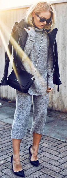 Gray Knit Twin Set Fall Inspo by Angelica Blick women fashion outfit clothing stylish apparel @roressclothes closet ideas
