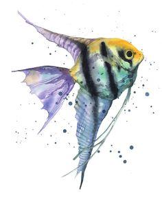 """""""Watercolor Fish"""" original fine art by Alison Fennell"""
