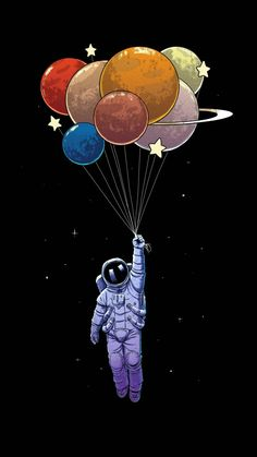 wallpaper for iphone Illustration Astronaut Cartoon Graphic design Balloon Art How The Medieval E Art And Illustration, Iphone Wallpaper Illustration, Graphic Design Illustration, Illustrations, Iphone Wallpaper Drawing, Astronaut Illustration, Cartoon Wallpaper, Iphone Drawing, Balloon Illustration
