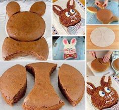 Make A Bunny Shaped Cake (Tutorial) Easter Bunny Cake Pattern – This is an Easter tradition that my mom started when I was a child. Easter Bunny Cake, Easter Treats, Bunny Cakes, Food Cakes, Cupcake Cakes, Bolo Mickey, Rabbit Cake, Rabbit Food, Pecan Cake
