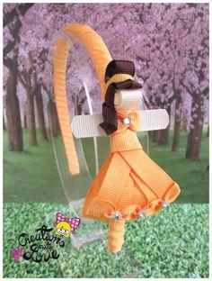 Items similar to Belle Beauty Ribbon Sculpture Headband. Princess Belle Beuty on Etsy Ribbon Art, Diy Ribbon, Ribbon Hair Bows, Diy Hair Bows, Princess Hair Bows, Princess Belle, Loom Band Animals, Homade Christmas Ornaments, Frozen Bows