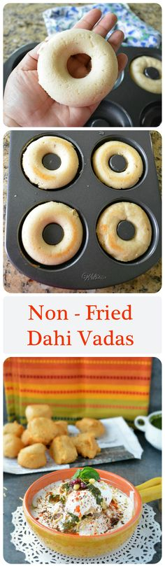 Making vadas in a doughnut pan. Even if I'm not steaming the vadas, I can always use the pan to get even-looking doughnut-shaped vadas. Indian Appetizers, Indian Snacks, Indian Food Recipes, Vegetarian Recipes, Indian Street Food, South Indian Food, Breakfast Recipes, Snack Recipes, Cooking Recipes