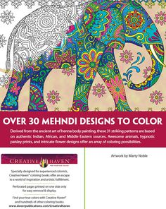 Creative Haven MAGNIFICENT MEHNDI DESIGNS Coloring Book By Marty Noble