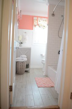 Coral And Gray Bathroom