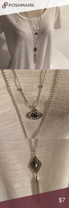 Long Chain Evil Eye Tassel Pendant Necklace Silver Plated Jewelry Necklaces