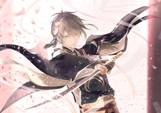 Mikazuki in Sakura Hot Anime Boy, Anime Love, Anime Guys, Manga Boy, Manga Anime, Anime Art, Saiunkoku Monogatari, Touken Ranbu Mikazuki, Anime Krieger