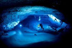 amazing underwater cave shot -- what fantastic lighting!