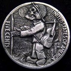 ROBERT MORRIS HOBO NICKEL - THE MUSIC WILL NEVER DIE - 1936 BUFFALO NICKEL REVERSE CARVING