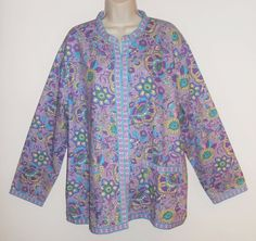 Tudor Court 2X Shirt Purple Floral Jacket Plus Cotton #TudorCourt #BasicJacket