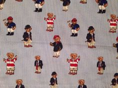 Twin Size VTG Made in USA Ralph Lauren Teddy Bear Motif Flat Sheet Blue  stripe   edb08c213e84d