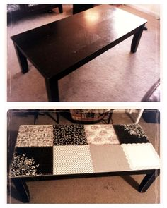 Changing up my boring old coffee table! Sand and apply a thin coat of Mod Podge to table surface. Use scrapbook paper, cut each into 6 pieces so as to avoid bubbling when drying. Mod podge the back of each paper piece and roll with a brayer so that paper stays flat. Mod podge top of paper when complete. Eliminate air bubbles using a pushpin and coat with polyeurethane for a smooth/ durable surface.