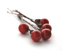 Bobby Pins Red Coral Christmas Festive Swarovksi Pearl Wire Wrapped Modern Hair Fashion LoveandCherish on Etsy, $14.50