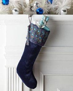 Peacock Christmas stocking from Bergdorf Goodman