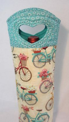 Sweet Summer Bicycle Ride Wine Bag Wine Gift BYOB by Wine2The9s I want this bike fabric!!