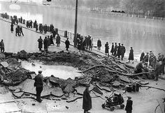 Bomb crater on the Fontanka embankment, Leningrad