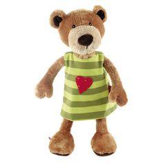 Pluche knuffelbeer met groen jurkje 40 cm  Pluche knuffelbeertje met verwisselbaar jurkje. Dit zachte beige knuffelbeertje heeft een jurkje aan die aan 2 kanten te dragen is. Rood met gele stipjes of groen gestreept met een rood hartje. Dit schattige knuffelbeertje is van het merk Sigikid en ongeveer 40 cm groot.  EUR 32.95  Meer informatie