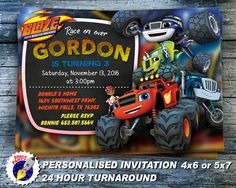 Blaze and the Monster Machines Invitation BLAZE by SpaceParty2