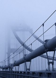 Tacoma Narrows Bridge Shrouded in Fog  | Tacoma, Washington. Is it safe to drive? Sure it is, but not quite as fun as you won't see the spectacular views.