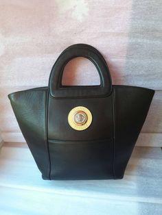 Amazing GIANNI VERSACE Black Real Leather Bag by Vintageroom24h Versace  Purses 2ef9d0f05de7e