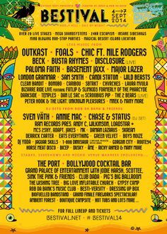 The lineup for #bestival 2014 - Find out more about the festival here: http://festkt.co/T2QEfD