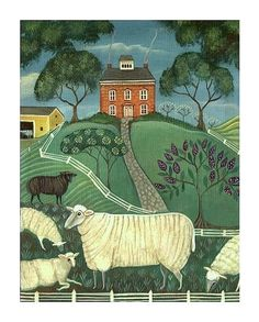 Charming SHEEP FARM PRINT - A Country Farm Landscape - Original Signed Folk Art Print by Wendy Presseisen - Colorful Charm. $18.00, via Etsy.