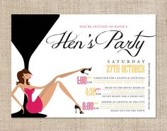 Printable Hen's Night Invitation  Cocktail Hour by CocoEllaDesigns, $18.00