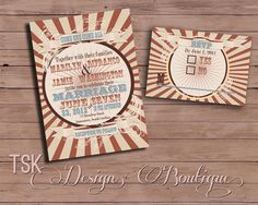 Marilyn Collection - Wedding Invitation RSVP Directions Cards for Vintage Circus Carnival Theme DIY Printable for Budget Bride. $75.00, via Etsy.