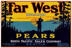 Old Fruit Crate Label - Far West Brand Pears
