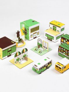 Cute Cardboard Paper Town from Moon Picnic. Great imaginative play toy that you can assemble you can make with your toddler!