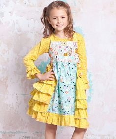 Blue  Yellow Bee Heather Dress - Infant, Toddler  Girls