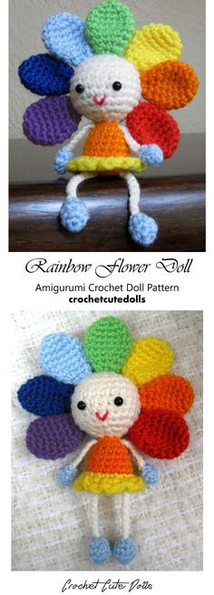 Amigurumi Crochet Doll Pattern & Tutorial for a cute little flower doll in the colors of the rainbow by Crochet Cute Dolls