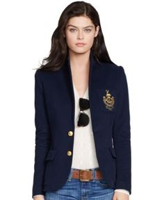 Polo Ralph Lauren Two-Button Emblem Blazer - Jackets & Blazers - Women - Macy's