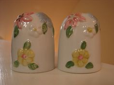 Milk White, Porcelain, Dome, Hand Painted, Elevated Design, Country Kitchen, Salt and Pepper Shakers, Collectible, Vintage, S&P Set by BackStageVintageShop on Etsy