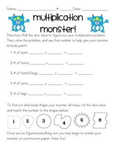 I created this multiplication monster activity as a quick review for my 3rd grade students. The instructions are simple: students roll a dice twice...