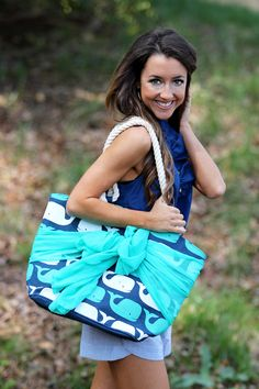 We are loving these new tote bags from Mondaydress.com! $29.99 Navy Whale Sarong Tote