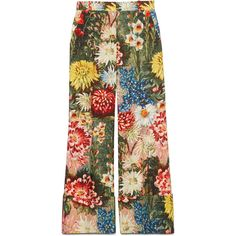 Gucci Impressionist Garden Wide Leg Pant (4 210 PLN) ❤ liked on Polyvore featuring pants, bottoms, pants & shorts, ready-to-wear, women, floral print trousers, cuffed trousers, wide leg pants, gucci pants and gucci