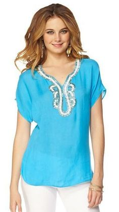 Lilly Pulitzer Valencia Embellished Top in Ariel Blue