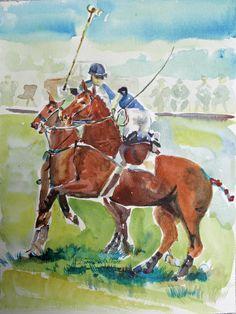Polo  watercolor horses $75.00
