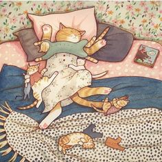 """""""The reason why mom feels so tired even after sleeping so much"""" illustration by Eunyoung Seo - watercolor, ink on paper Fish Cat Toy, Children's Book Illustration, Illustrations, Toy Sale, Cat Toys, Cat Art, Bedtime, Memes, Folk"""