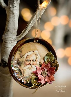 If you love covering your home in vintage crafts every Christmas, then we have one of the most incredible Christmas ornaments to make. This Old Man Winter Jar Lid Ornament is as stunning, especially nice for people who enjoy detailed ornament crafts. Vintage Christmas Crafts, Paper Christmas Ornaments, Vintage Crafts, Vintage Ornaments, Xmas Crafts, Christmas Projects, Christmas Fun, Christmas Decorations, Christmas Mantles