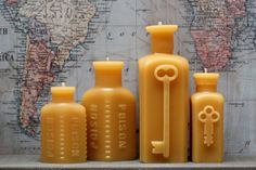 """Beeswax Candle Collection - antique bottle shaped - """"Two Keys - Two Poison"""" - by Pollen Arts -"""